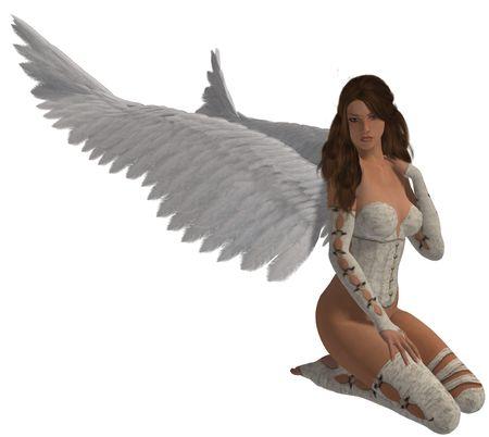 elohim: Angel with brunette sitting down