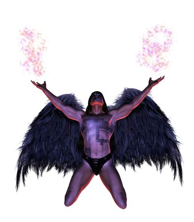 elohim: Male angel kneeling, looking up with wings and arms spread Stock Photo