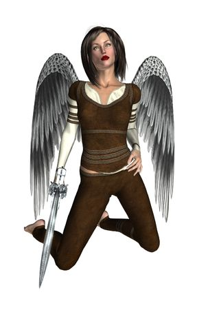 elohim: Arch angel kneeling, looking up holding a sword Stock Photo