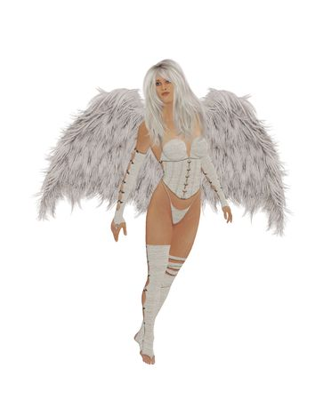 elohim: Angel flyiing in the mid air, looking down Stock Photo