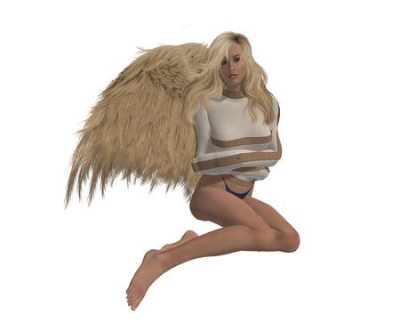 elohim: Rebel angel in a straight jacket, sitting down