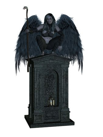 elohim: Angel of death, sitting on a tomb with wings spread
