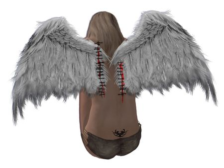 elohim: Blonde hair angel with stitched wings and a tattoo