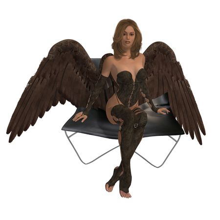 elohim: Brunette angel sitting on a chair with wings spread