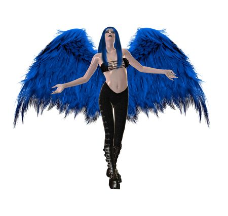 elohim: Gothic blue angel with wings spread and arms open