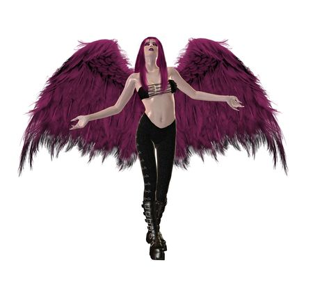 elohim: Gothic pink angel with wings spread and arms open
