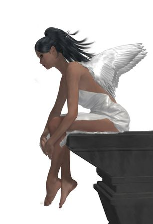 elohim: Angel sitting on a ledge, looking down
