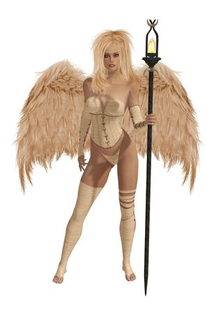 elohim: Beige winged angel with blonde hair standing holding a torch Stock Photo