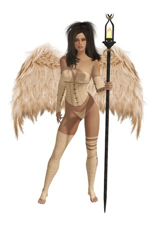 elohim: Beige winged angel with dark hair standing holding a torch