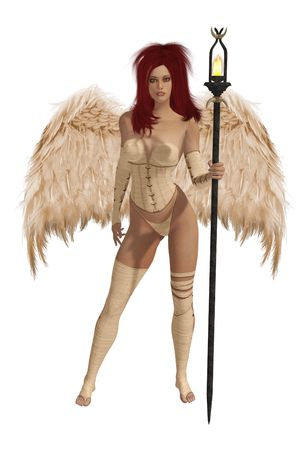 elohim: Beige winged angel with red hair standing holding a torch