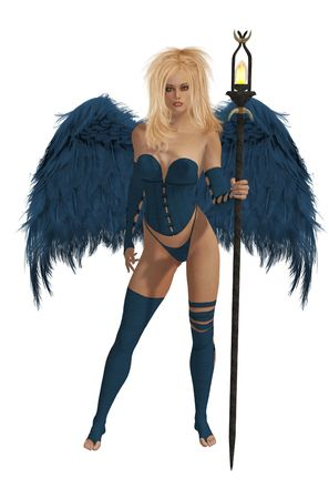elohim: Blue winged angel with blonde hair standing holding a torch