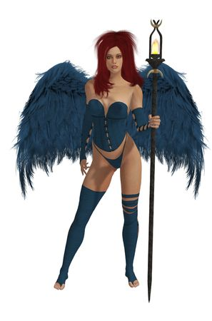 elohim: Blue winged angel with red hair standing holding a torch