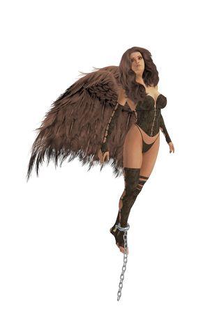 Brunette angel fleeing from broken chains