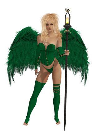 elohim: Green winged angel with blonde hair standing holding a torch