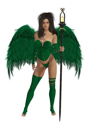 elohim: Green winged angel with dark hair standing holding a torch