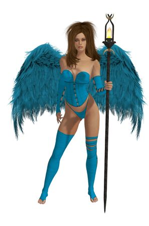 elohim: blue winged angel with brunette hair standing holding a torch Stock Photo