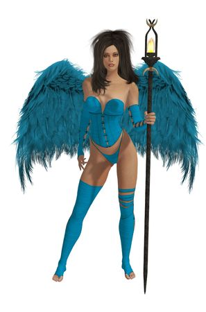 elohim: blue winged angel with dark hair standing holding a torch