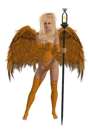 elohim: Orange winged angel with blonde hair standing holding a torch