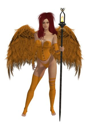 elohim: Orange winged angel with red hair standing holding a torch