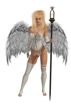 elohim: White winged angel with blonde hair standing holding a torch Stock Photo
