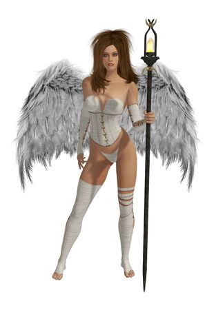 elohim: White winged angel with brunette hair standing holding a torch