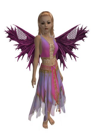 Pink and purple fairy standing up photo