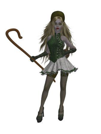 Little bo peep standing holding her staff