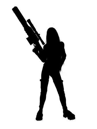 Woman standing and holding a gun silhouette photo