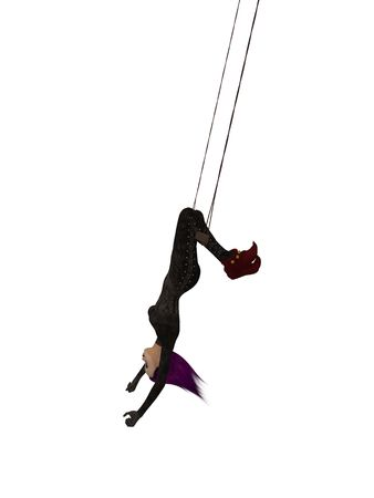 Clown handing upside down on a trapeze