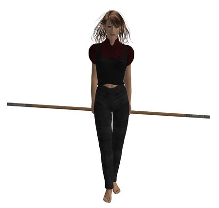 Woman warrior hold a staff photo