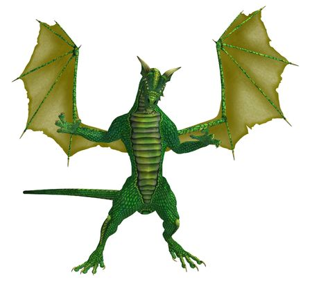 Green yellow dragon standing with wings spread photo