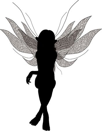Silhouette of a fairy sitting down Standard-Bild