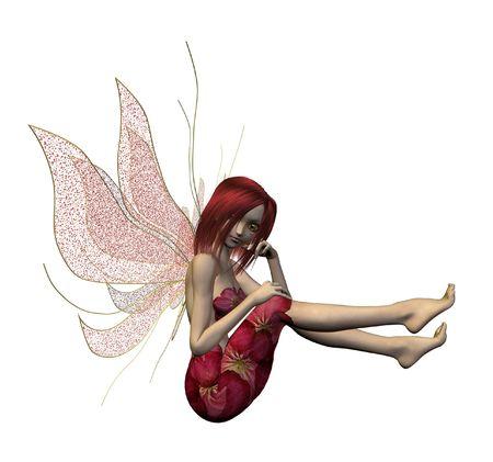 Pink flower fairy sitting down