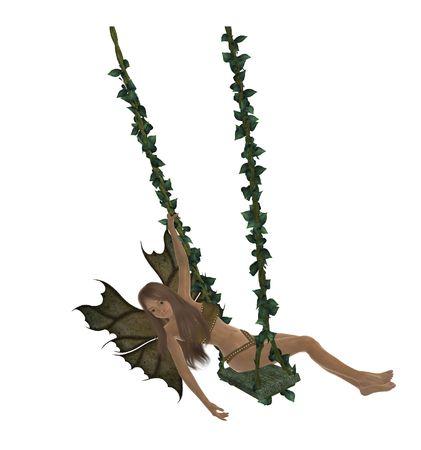 Brunette fairy swinging on a swing