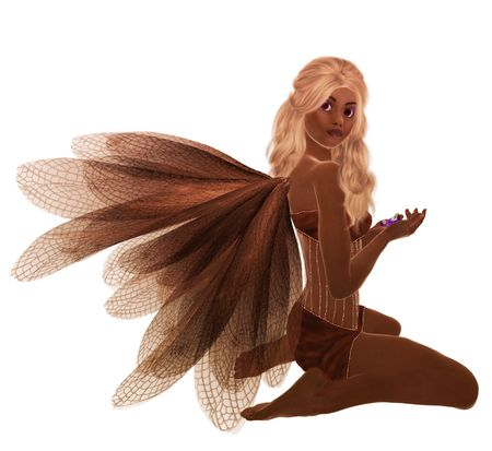Brown fairy with blonde hair, sitting holding flowers in her hand photo