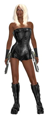 Woman standing and holding two guns  Imagens
