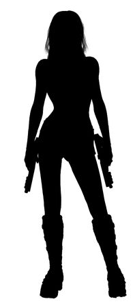 Woman standing and holding two guns silhouette  photo