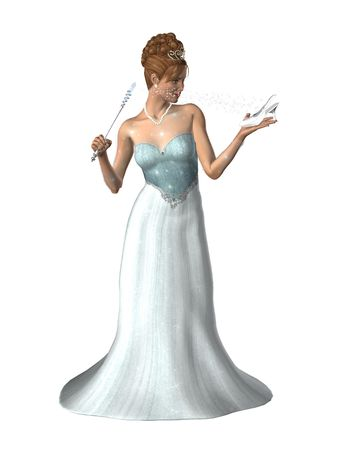 Woman dressed in a gown with a magic wand and glass slipper Stock Photo