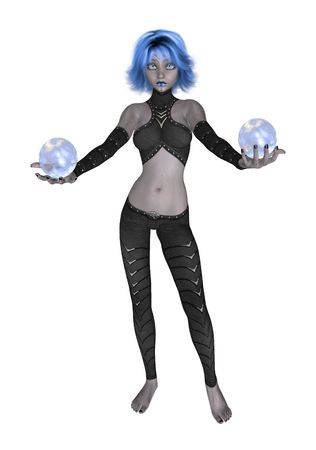 ingenious: Blue goth girl dressed in black holding two crystall balls