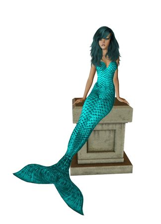 nymphet: Aqua haired mermaid sitting on a pedestal 300 dpi