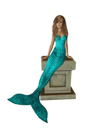 Aqua mermaid sitting on a pedestal 300 dpi photo
