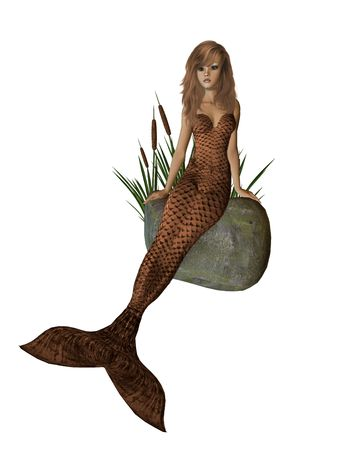 nymphet: Brown mermaid sitting on a rock with cattails 300 dpi Stock Photo
