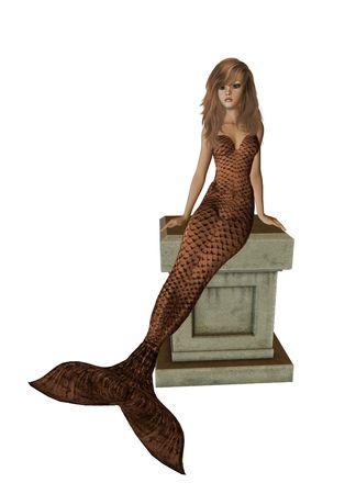 nymphet: Brown mermaid sitting on a pedestal 300 dpi