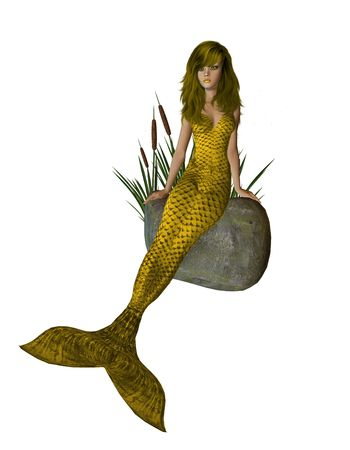 Gold mermaid sitting on a rock with cattails 300 dpi photo