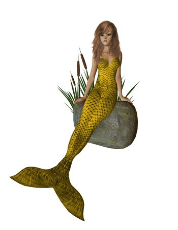 nymphet: Gold mermaid sitting on a rock with cattails 300 dpi
