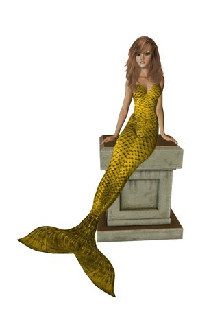 nymphet: Gold mermaid sitting on a pedestal 300 dpi Stock Photo