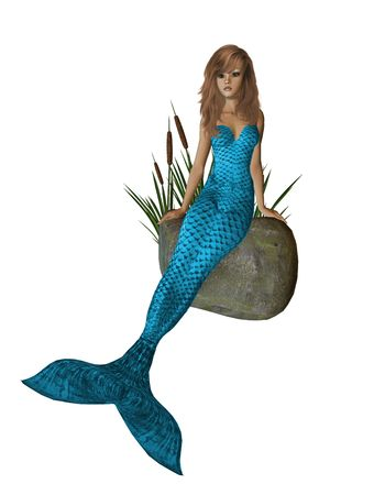 blue mermaid sitting on a rock with cattails 300 dpi