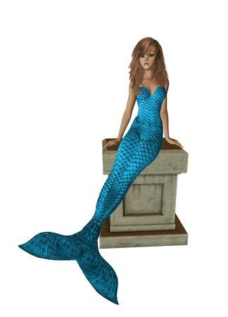 nymphet: blue mermaid sitting on a pedestal 300 dpi