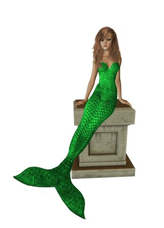 nymphet: Lime green mermaid sitting on a pedestal 300 dpi Stock Photo