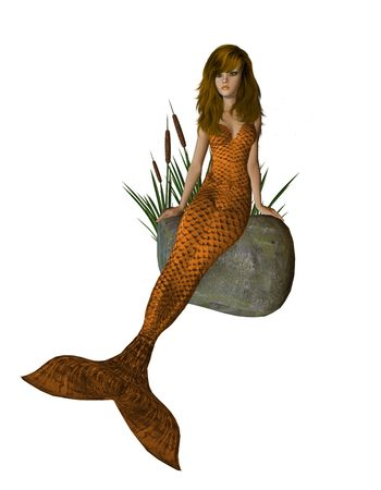 nymphet: Orange mermaid sitting on a rock with cattails 300 dpi